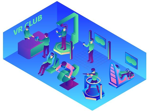 Composición de realidad virtual isométrica con vista interior del vr computer club con dispositivos portátiles y atracciones ilustración vectorial