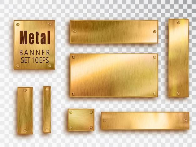 Composición realista de banner de metal dorado