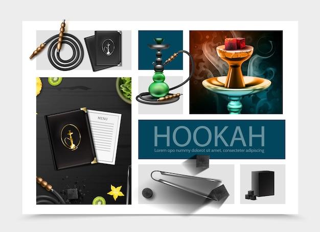 Composición realista de la barra de narguile con tapa de menú y tarjeta shisha manguera pinzas de tabaco cubos de carbón rodajas de frutas
