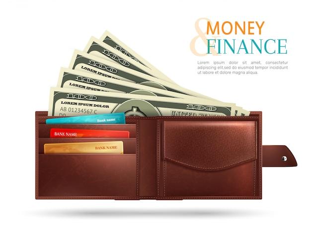 Composición realista de billetera