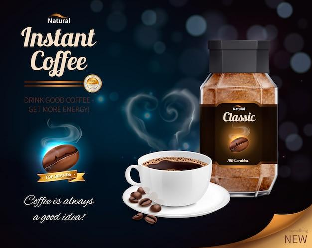 Composición realista de café instantáneo