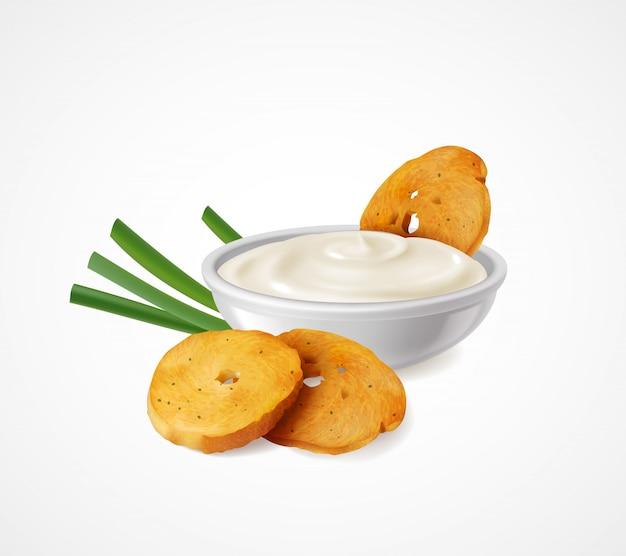 Composición realista con cebolla verde y tazón de crema agria como aditivos aromatizantes para la ilustración de bocadillos