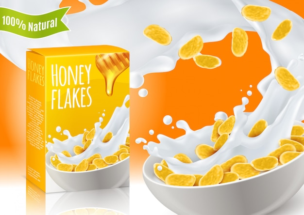 Composición realista de cereales de desayuno de miel