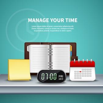 Composición realista coloreada de la gestión del tiempo