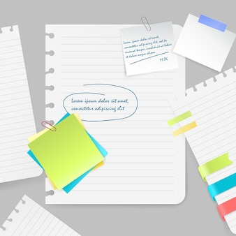 Composición realista de coloridas hojas en blanco y trozos de papel con notas y cinta adhesiva sobre fondo gris ilustración vectorial