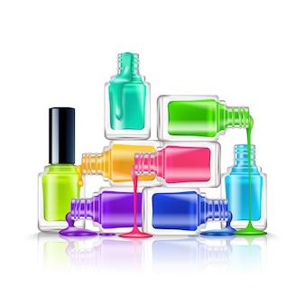 Composición realista de coloridos esmaltes de uñas fluorescentes sobre fondo blanco