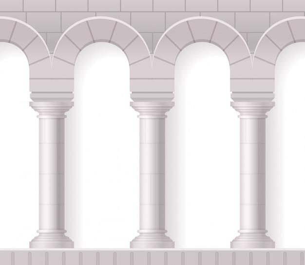 Composición realista de columnas blancas antiguas con formas arquitectónicas clásicas y textura de ladrillo en blanco