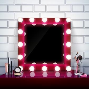 Composición realista con cosméticos de espejo de maquillaje rosa y pinceles en la ilustración de vector de mesa