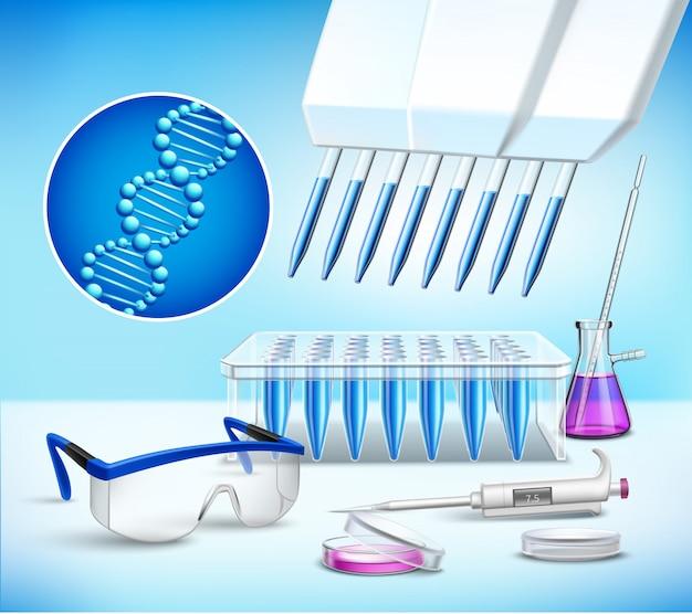 Composición realista de cristalería de laboratorio