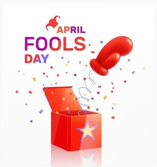 Composición realista del día de los tontos de abril con guante de boxeo saltando fuera de la caja con confeti e ilustración de texto