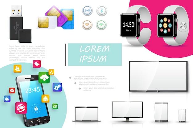 Composición realista de dispositivos digitales con unidad flash usb, tarjetas sim, botones, relojes inteligentes, monitor, computadora portátil, tableta, teléfono, aplicaciones móviles, iconos