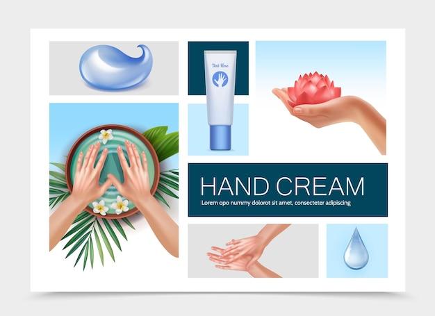 Composición realista de elementos para el cuidado de la piel con gotas de agua tubo cosmético de crema flor de loto hermosas manos femeninas