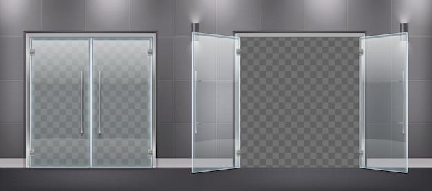 Composición realista de entrada de puerta de vidrio con hojas de puerta cerradas y abiertas con manijas de metal