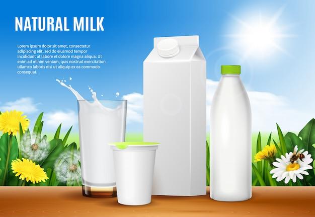 Composición realista de envases lácteos