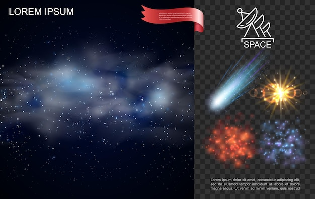 Composición realista del espacio exterior con estrellas nebulosa azul cayendo cometa brillo y efectos de luz solar