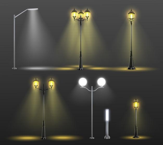 Composición realista de farolas con seis estilos diferentes y luz de ilustración de bombillas