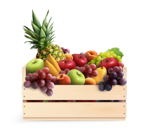 Composición realista de frutas en caja