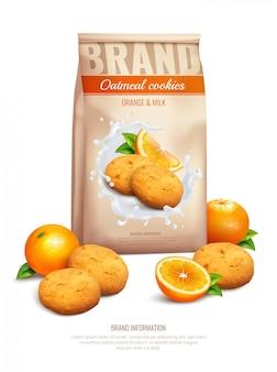 Composición realista de galletas con símbolos de sabor a naranja y leche