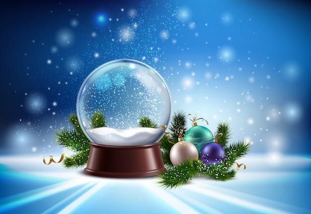 Composición realista de globo de nieve blanca con juguetes de árbol de navidad e ilustración de brillo de invierno