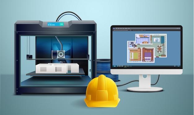 Composición realista con impresión 3d del modelo de la casa y la ilustración de vector de casco impreso