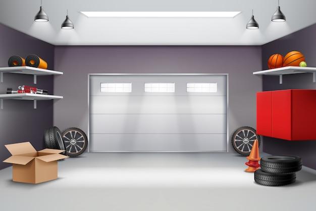 Composición realista del interior del garaje