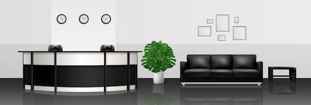 Composición realista interior de oficina con mostrador de recepción, sofá de cuero y mesa de diario