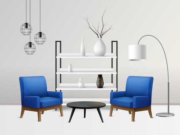 Composición realista interior con paisaje de sala de estar y sillas de color azul suave cerca de estantes, lámparas y mesa.