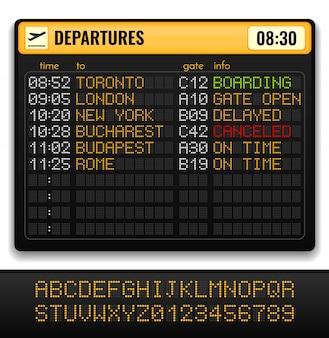 Composición realista de la junta electrónica del aeropuerto con alfabetos amarillos a bordo y ilustración de información de salidas