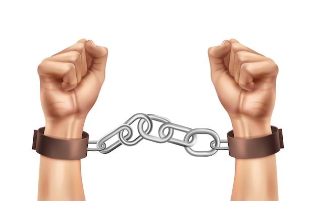 Composición realista de la justicia social del día mundial con manos humanas encadenadas