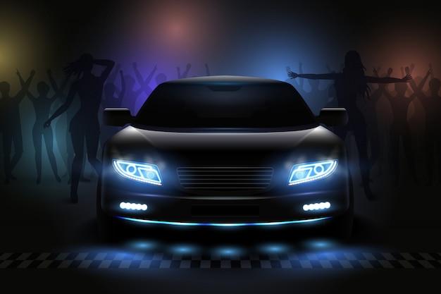 Composición realista de luces led de coche con vista de club nocturno con siluetas de personas bailando e ilustración de luz
