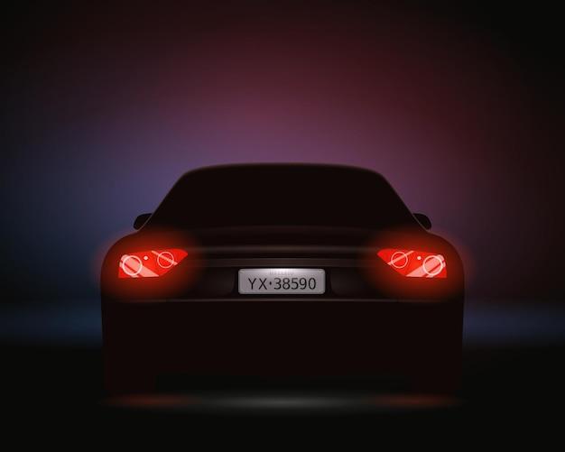 Composición realista de la noche de los faros del número de coche con vista trasera del automóvil