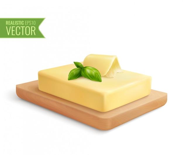 Composición realista con palo de mantequilla en la ilustración de la tabla de cortar de madera