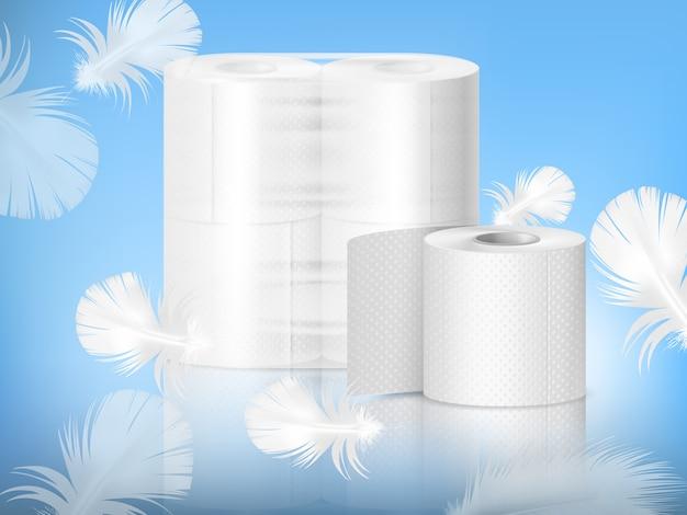 Composición realista de papel higiénico