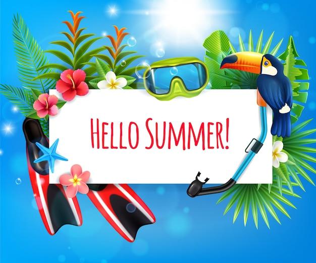 Composición realista de paraíso tropical vacaciones de verano con aletas snorkel máscara de buceo invitación de marco de pájaro tucán