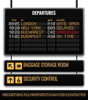 Composición realista de la placa del aeropuerto negro con la sala de almacenamiento de equipaje y la ilustración de punteros de control de seguridad