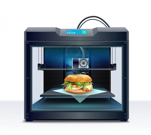 Composición realista con proceso de ilustración de vector de impresión 3d de hamburguesa