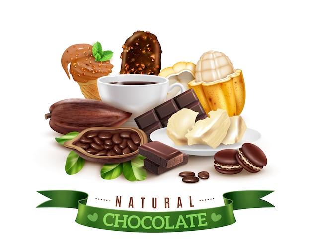 Composición realista de productos de cacao