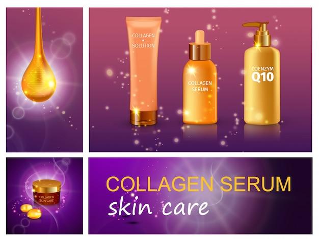Composición realista de productos cosméticos con frascos de colágeno en suero de crema hidratante y jabón líquido sobre espumoso púrpura