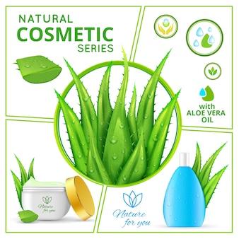 Composición realista de productos cosméticos naturales con plantas de aloe vera y paquetes de cremas y líquidos saludables para el cuidado de la piel.