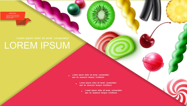 Composición realista de productos dulces con cereza, kiwi, piña, fruta, caramelos, chicles, piruletas, mermelada, regaliz, ilustración