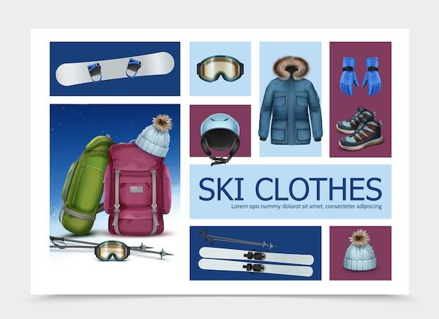 Composición realista de ropa y equipo de esquí con bastones de esquí, gafas, mochilas, gorra, casco, chaqueta, zapatillas, guantes