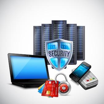 Composición realista de seguridad de pago con equipo de servidor tarjetas bancarias tecnología nfc en luz
