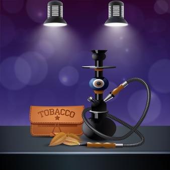 Composición realista de tabaco coloreado