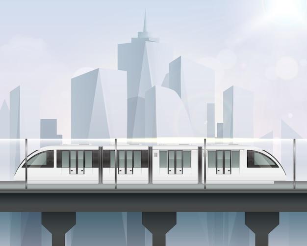 Composición realista del tren de tranvía de pasajeros con vista del paisaje urbano y el tren ligero con la moderna ilustración del tren metropolitano