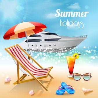 Composición realista de vacaciones de verano