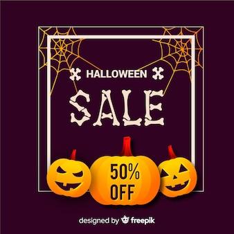 Composición de rebajas de halloween con diseño plano