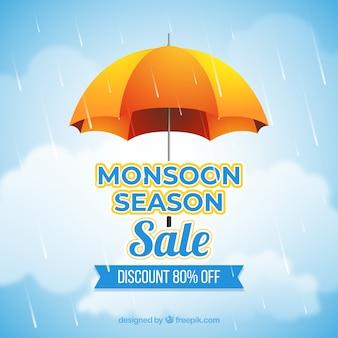 Composición de rebajas de temporada del monzón con diseño realista