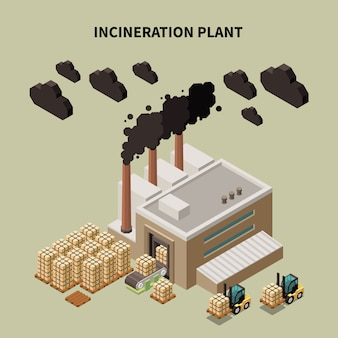 Composición de reciclaje de basura coloreada con titular de planta de incineración e ilustración de edificio de almacén aislado