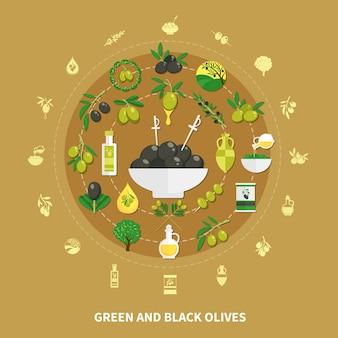 Composición redonda de aceitunas verdes y negras sobre fondo de arena con decoraciones, conservas e ilustración de aceite