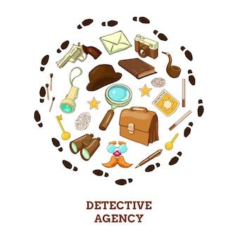 Composición redonda de la agencia de detectives
